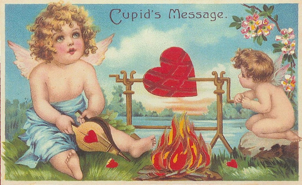 tarjeta de san valentín de estilo victoriano