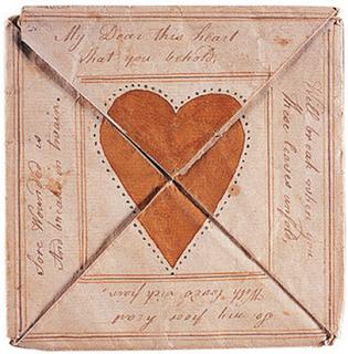 Tarjeta de San Valentín manuscrita del siglo XVIII