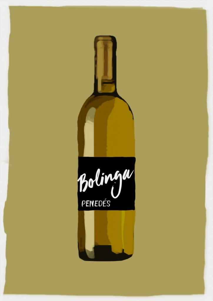 Ilustración de botella de vino con etiqueta que dice Bolinga Penedés
