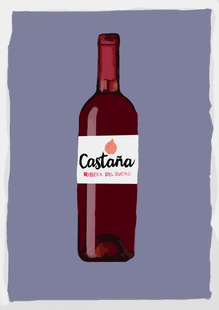 Ilustración de botella de vino con etiqueta que dice Castaña Ribera del Duero