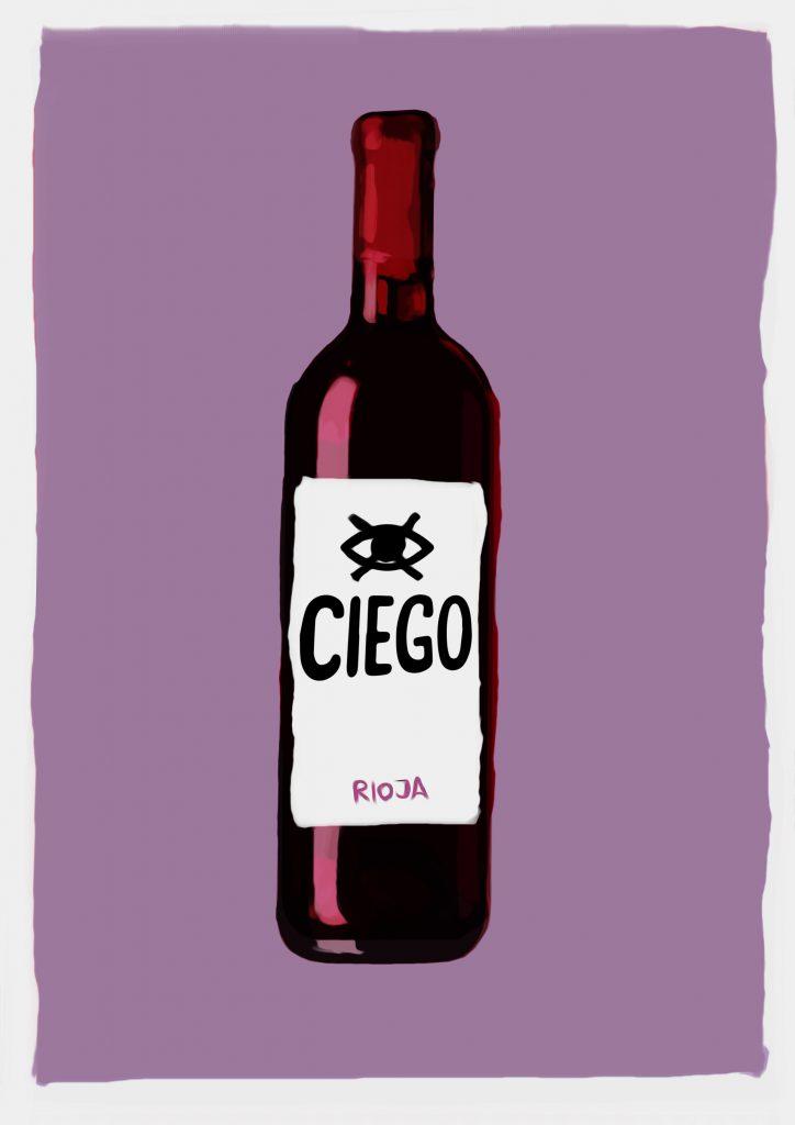 Ilustración de botella de vino con etiqueta que dice Ciego Rioja