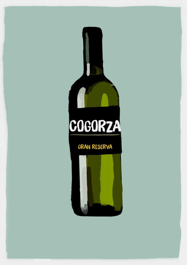 Ilustración de botella de vino con etiqueta que dice Cogorza Gran reserva