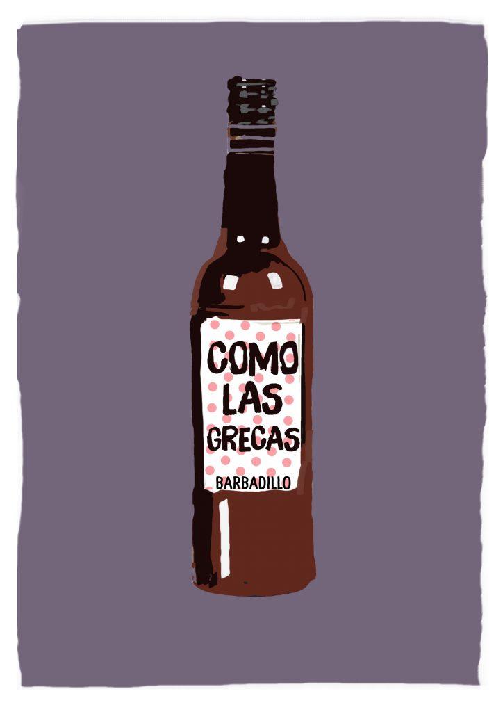 Ilustración de botella de vino con etiqueta que dice Como Las Grecas Barbadillo