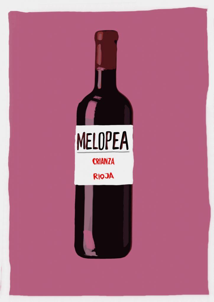 Ilustración de botella de vino con etiqueta que dice Melopea Rioja Crianza