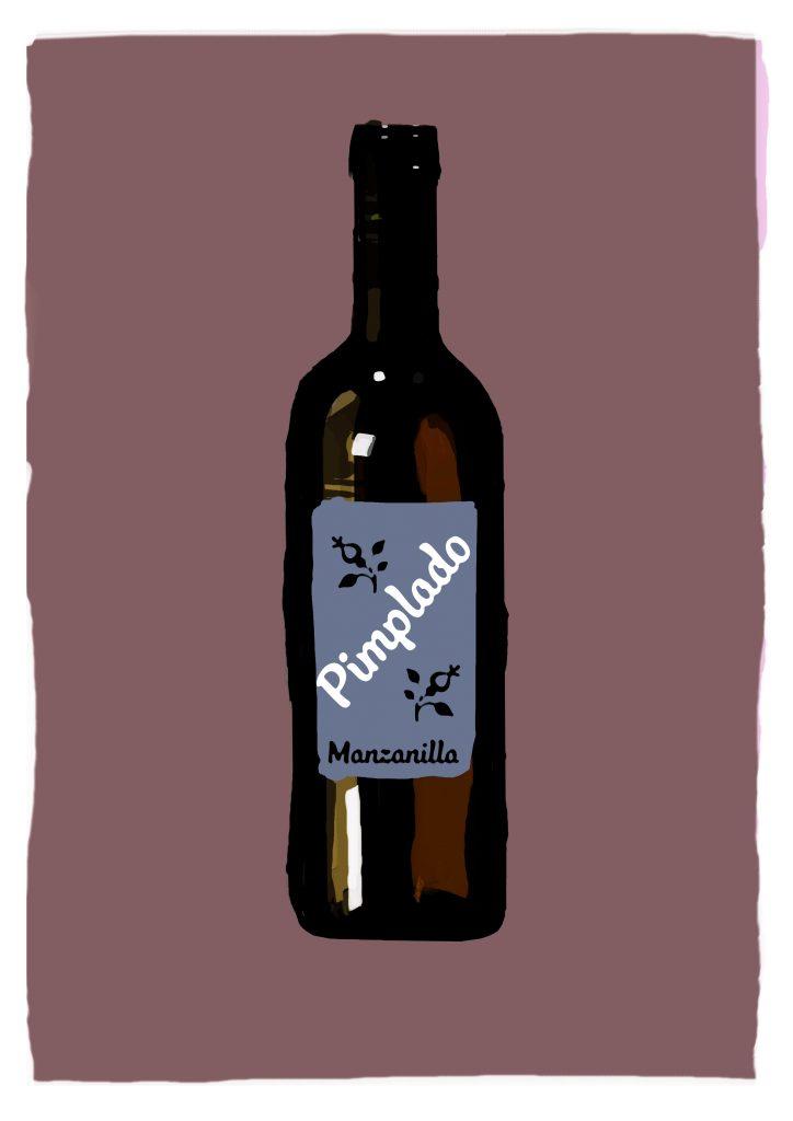 Ilustración de botella de vino con etiqueta que dice Pimplado Manzanilla