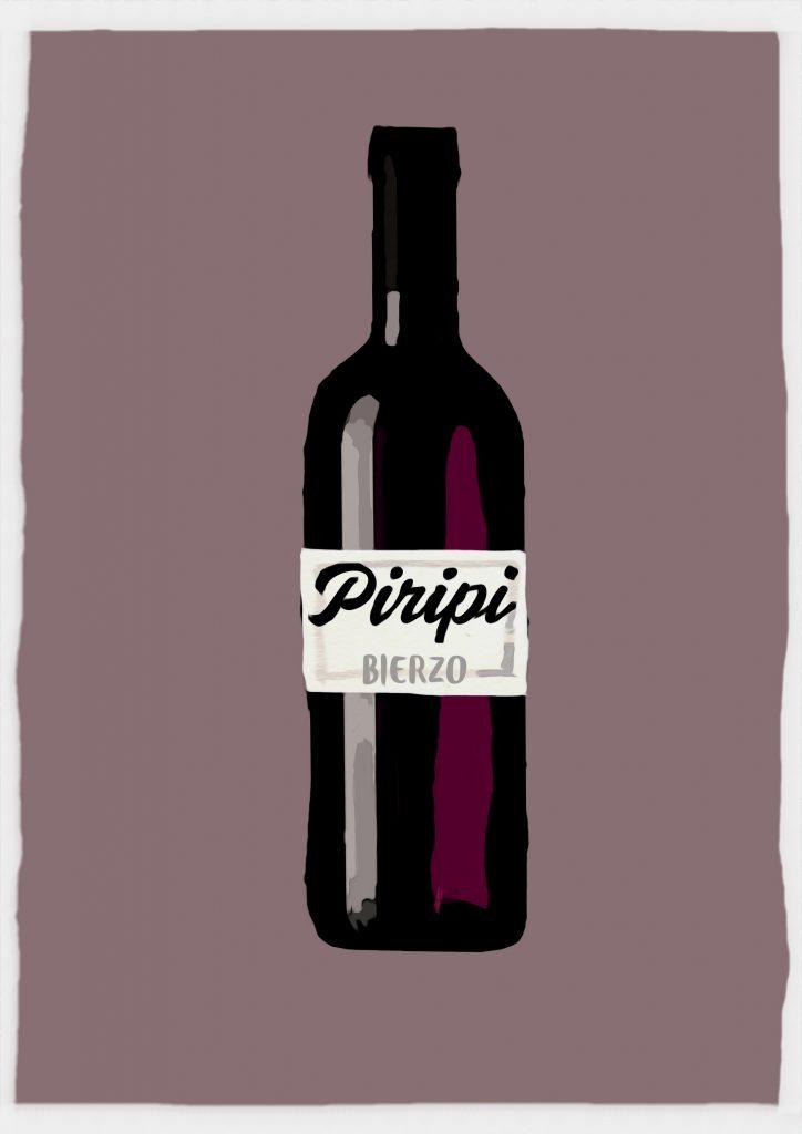 Ilustración de botella de vino con etiqueta que dice Piripi Bierzo