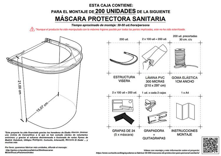 Instrucciones de montaje de la máscara de protección sanitaria