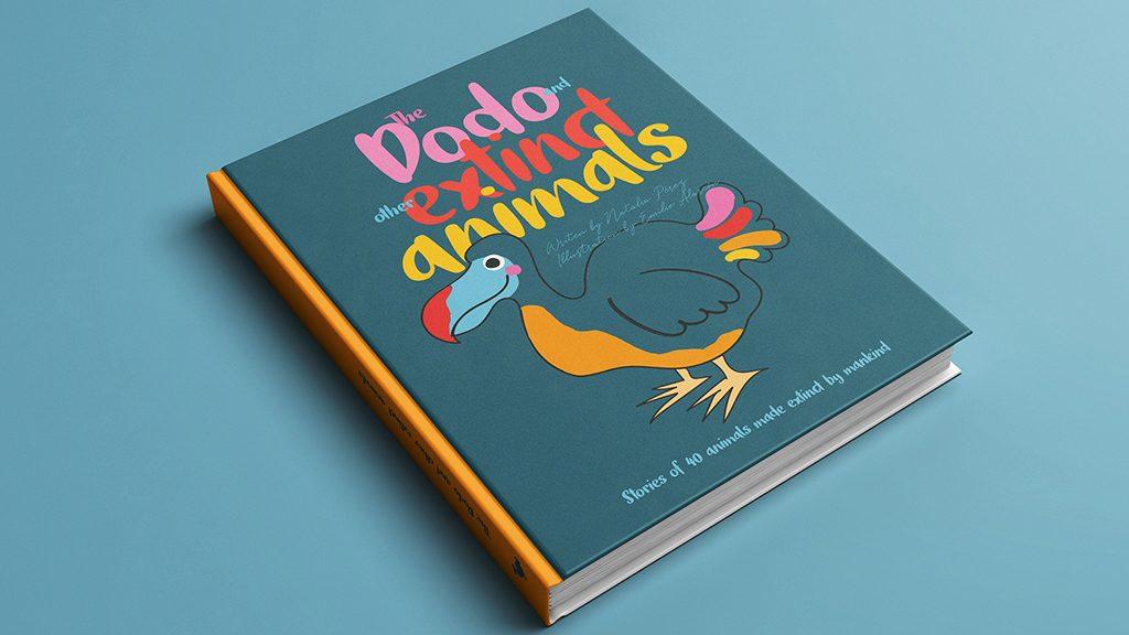 Proyecto Kickstarter portada del libro sobre animales extinguidos por la mano del hombre