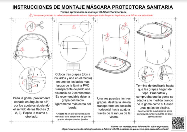 Instrucciones de montaje de la máscara de protección sanitaria, continuación