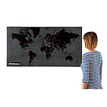Large Pin World Map Black