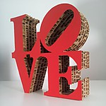 "Miniature Cardboard ""Love"" Sculpture"