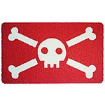 Funny Doormat with Skull and Crossbones Drawing