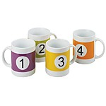 Set of Four Numbered Mugs in Assorted Colours