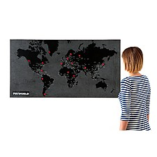 "Mapamundi de Fieltro ""Pin World"" Grande Negro"