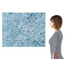 Mapa de París de Fieltro Azul
