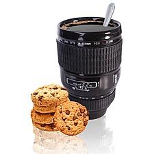 Taza  de cerámica con forma de objetivo fotográfico