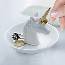 Porta anillos con forma de unicornio