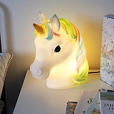 Luz de noche con forma de busto de unicornio