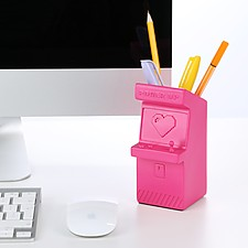Organizador de escritorio con forma de máquina arcade