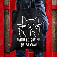 Tote bag con gato macarra