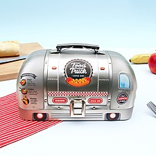Fiambrera metálica con forma de <i>food truck</i>