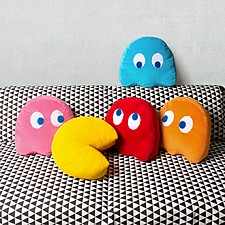 Cojines con forma de Pac-Man y de fantasmitas