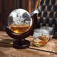 Set de licorera y vasos con forma de globo terráqueo