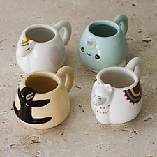 Juego de cuatro tazas de espresso con forma de animalitos