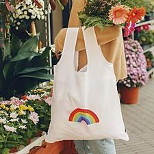 Bolsa reutilizable y plegable con arcoíris