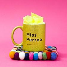 Taza de purpurina con mensaje de reggaeton Miss Perreo