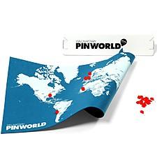 "Mapamundi de Fieltro ""Pin World"" Pequeño Azul"
