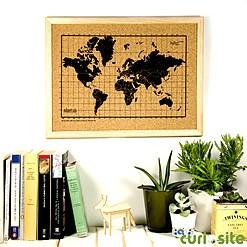 Mini tablero de corcho con el mapamundi serigrafiado
