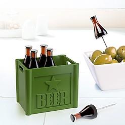 Tenedores de aperitivo con forma de botellines de cerveza