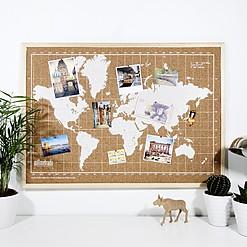 Tablero de corcho con mapamundi serigrafiado en blanco y marco natural