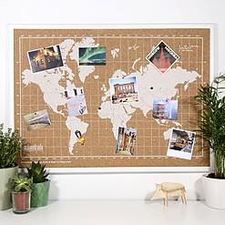 Tablero de corcho con mapamundi serigrafiado en blanco y marco blanco