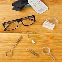 Kit para reparar gafas en estuche de metal