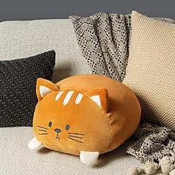 Cojín de terciopelo con forma de gato gordo