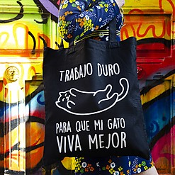 Tote bag Trabajo duro para que mi gato viva mejor