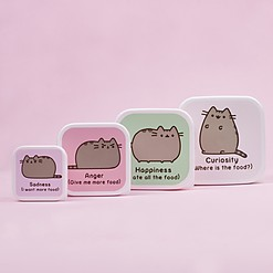 Set de cuatro tuppers Pusheen