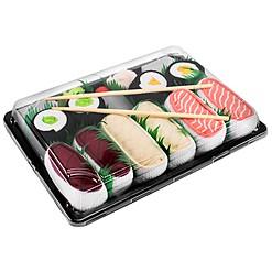 Bandeja con cinco pares de calcetines diseñados como sushi