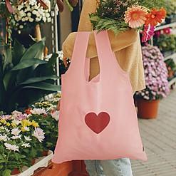 Bolsa reutilizable y plegable con corazón