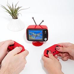 Videoconsola arcade con forma de mini televisor retro