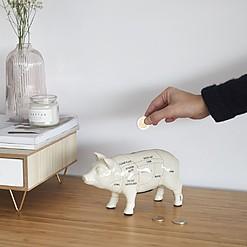 Hucha original con los cortes del cerdo