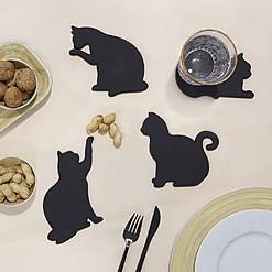 Posavasos magnéticos con forma de gato negro