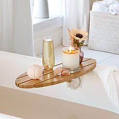 Bandeja de bambú móvil para la bañera