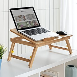 Mesa plegable auxiliar de bambú