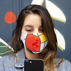 Mascarilla de protección  Composición en rojo, amarillo y azul de Mondrian