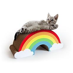 Rascador de cartón para gatos con forma de arcoíris