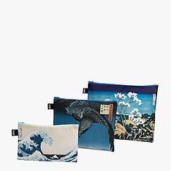 Set de tres bolsitas de tela con obras de arte estampadas