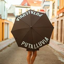 Paraguas con mensaje Puta lluvia